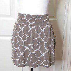 Banana Republic Brown and White Giraffe Print Mini Skirt